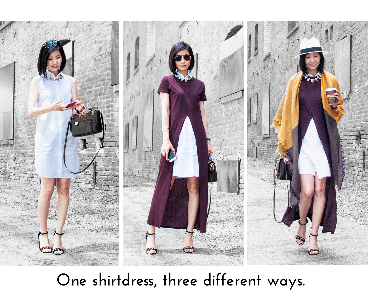 one shirtdress, three different ways
