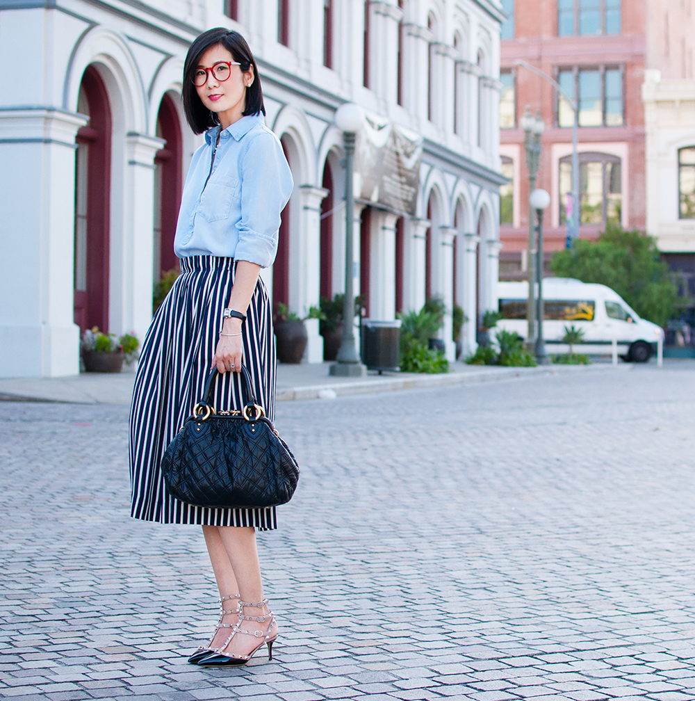 Stripe & Midi Skirt