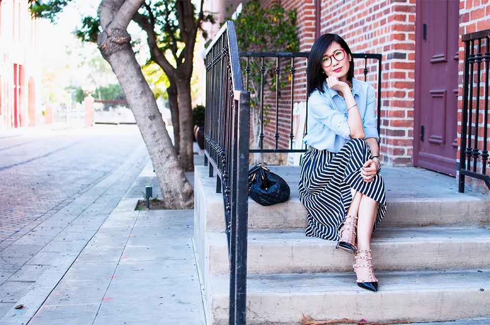 Stripe & Midi Skirt