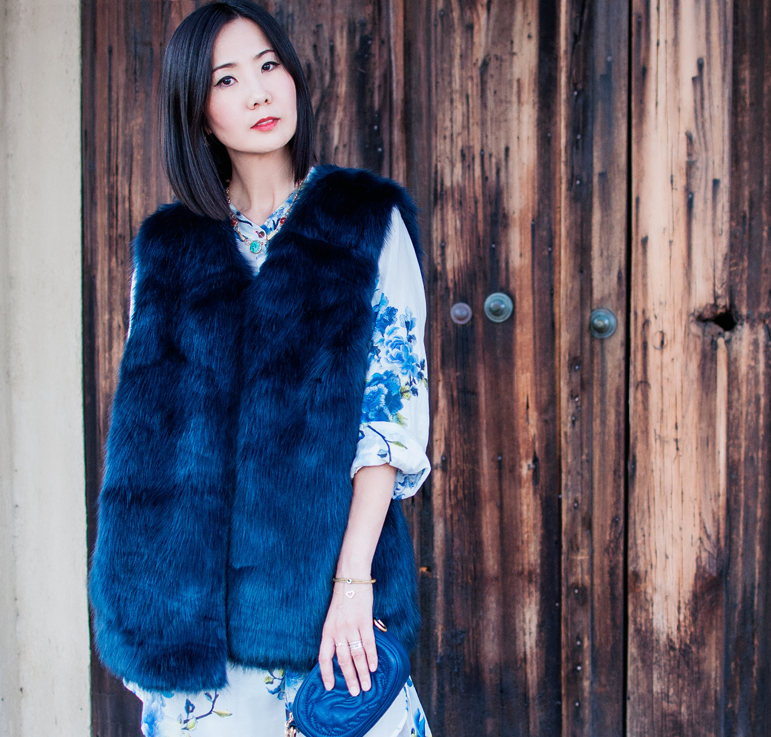 Royal Blue Faux Fur Coat